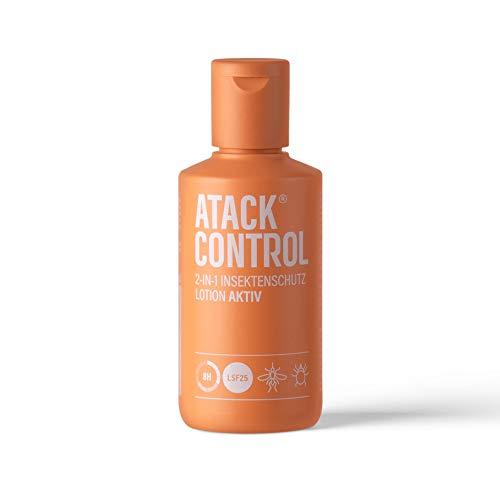 ATACK CONTROL Lotion Aktiv 2 in 1 - Insektenschutz und Sonnenschutz - DEET frei - auf pflanzlicher Basis - auch für Kinder ab 12 Monaten - auch für Schwangere - auch für...