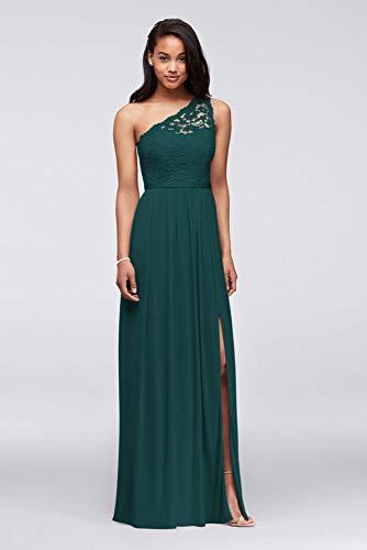 Long One Shoulder Lace Bridesmaid Dress Style F17063, Gem, 6
