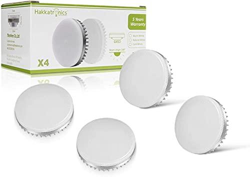 GX53 LED Lampe, Hakkatronics 8W GX53 Leuchtmittel, 3000K Warmweiß, CRI 85Ra, 750lm(75w Halogenlampen Entsprechen) GX53 LED Glühlampe, Nicht Dimmbar, Schrank/Bad/Küche, 180° Abstrahlwinkel (4er Paket)