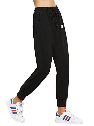 DIDK Damen Hosen Elastisch Bund Sweathose Sporthose Jogginghose Sweatpants mit Tunnelzug Schwarz XL