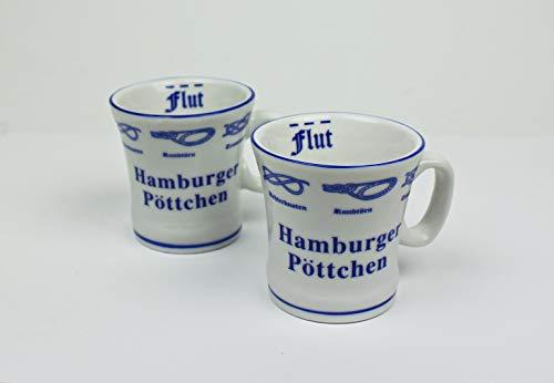 Hamburger Pöttchen mit Seemannsknoten 2er Set hoch Hamburg Andenken Mini Becher Schnapsglas Schnaps