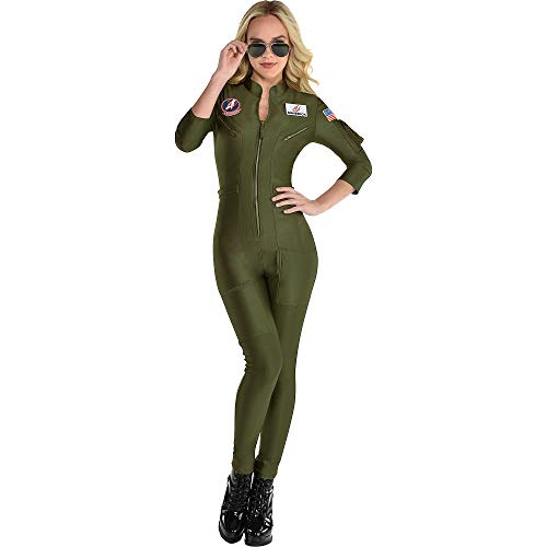 Party City Top Gun: Maverick Flight Costume for Women, Halloween, Olive Green, Small (2-4), Catsuit with Zipper