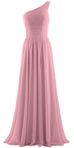 ANTS Women's Pleat Chiffon One Shoulder Bridesmaid Dresses Long Evening Gown Size 2 US Blush