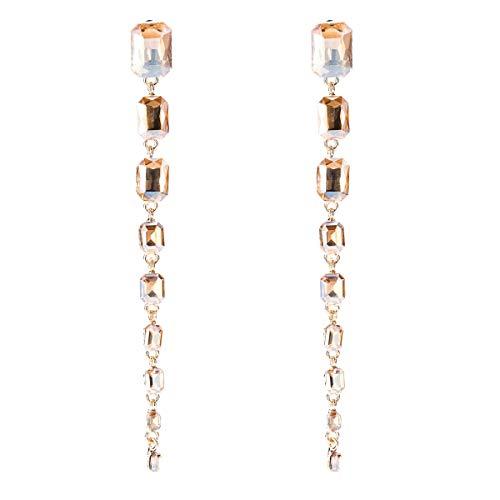 Pendientes Pendientes de Diamantes de Cristal Europeos y Americanos más vendidos Pendientes de Diamantes Multicapa exagerados Pendientes de Viento INS de Bohemia (Color : Gold)