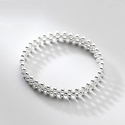 N/A Pulsera de Plata S925 para Mujer, Simple, pequeña, Fresca y Ligera, Pulsera de Cuentas, joyería de Mano de Cara Ancha a la modaAniversario