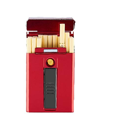 Zigarettenetui HAOAYOU Tragbares LED-Display USB-Aufladung Winddichtes flammenloses elektronisches Feuerzeug für Frauen 90 * 55 * 19 mm Rot