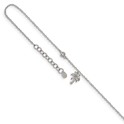 925 Sterling Silver Cubic Zirconia Cz Palm Tree 9 Inch Plus 1 Adjustable Chain Size Extender Anklet Ankle Beach Bracelet Seashore Fine Jewellery For Women Gifts For Her