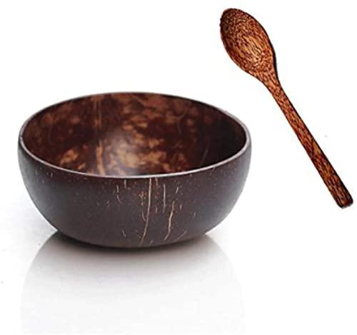 hwljxn Cuencos de Coco, Ensalada de Acai orgánico Smoothie Coco Natural Coco y cucharas para Servir Fideos, Pasta, batido, Papilla, Cereal - Regalo para Veganos. (Color : Brown)