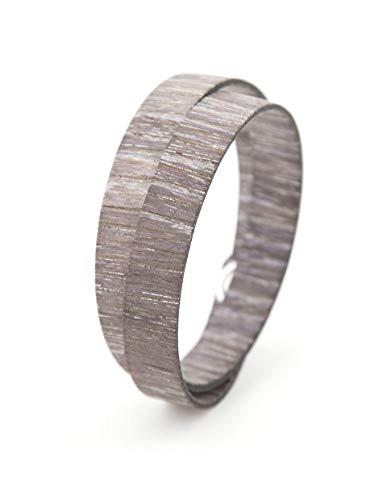 Paul Cortese - Pulsera de madera de roble en color gris, modelo Twin, hecha a mano por artesanos Veneti, un regalo para él y para ella, respetuoso con el medio ambiente y verde. gris