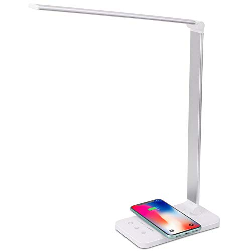LED Desk Lamp with Wireless Charger, USB Charging Port, 5 Brightness Levels, 5 Lighting Modes, Touch Control, 30/60 min Auto Timer, Eye-Caring Office Lamp with Adapter (White)