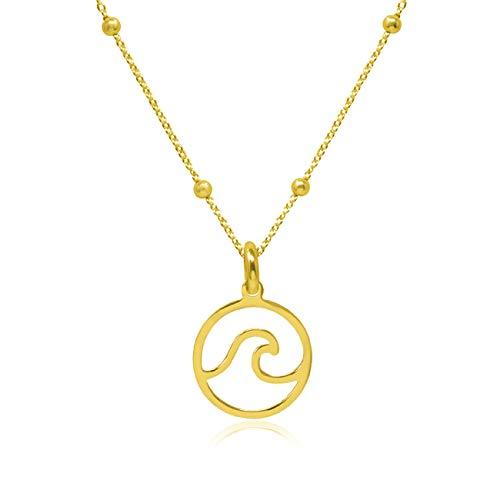 WANDA PLATA Collar Colgante Ola de Mar para Mujer Plata de Ley 925 Baño de Oro Colgante Ola Surf Incluye Cadena de 40 cm de Largo, Sulfero