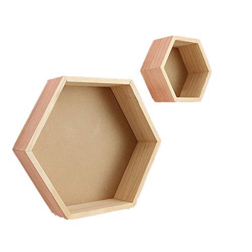 HXiaDyG Floating Wandrek, hout, zeshoekig, om op te hangen, 2 decoraties voor keuken, huis, badkamer, woonkamer, slaapkamer, nachtkastje, opbergen, display