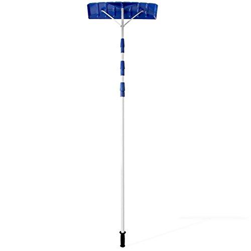 Ohuhu 21 Inch Twist-n-Lock Telescoping Snow Shovel Roof Rake with 6