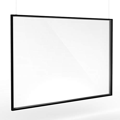 Adir Guard Framed Plexiglass Hanging Sneeze Guard Shield for Counter, Restaurant, Salon and Business Use, Hanging Protector, Heavy Duty Clear Acrylic, Reusable and Durable - 36 inch x 24 inch
