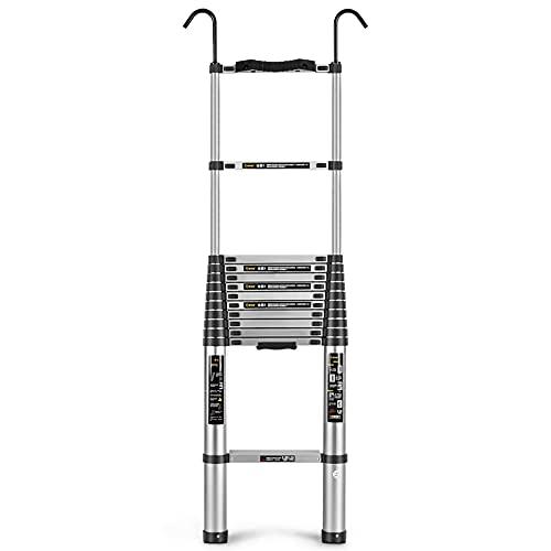ZHIWUJIA Escalera Ajustable aleación De Aluminio Pedal Antideslizante Gancho Grueso Escalera Recta por Trabajar En Alturas(Size:4.7m)