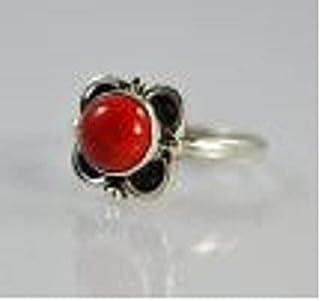 Anello in argento con corallo, anello, anello con gemma, anello in argento, anello fatto a mano, anello in argento massicc...