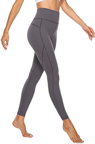 JOYSPELS Sporthose Damen, Sport Leggins für Damen High Waist, Yoga Leggings Yogahose Sportleggins Lang Tights, Grau, M