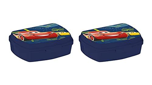 3587; lote de 2 sandwicheras Disney cars azul; productos reutilizables; No BPA; ideal para el cole