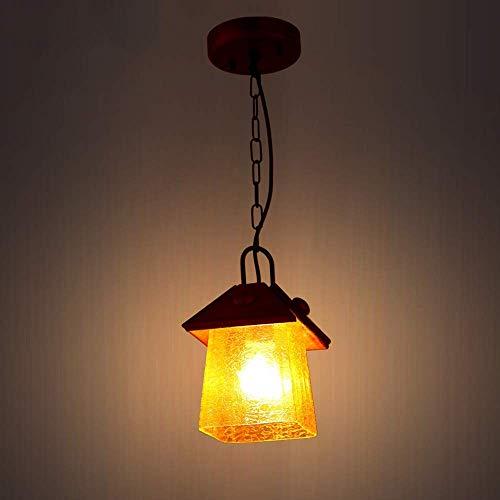 LKK-KK Sala de estar rústica nórdica de la lámpara de madera sólida Luminaria de cristal pendiente de la luz de la linterna País pasillo colgantes Fixture Balcón luz de techo simple bar Sala de la dec