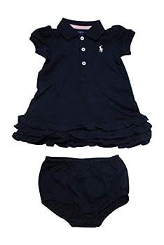 Ralph Lauren Baby Girls 2pc Cupcake Dress Set  3 Months French Navy