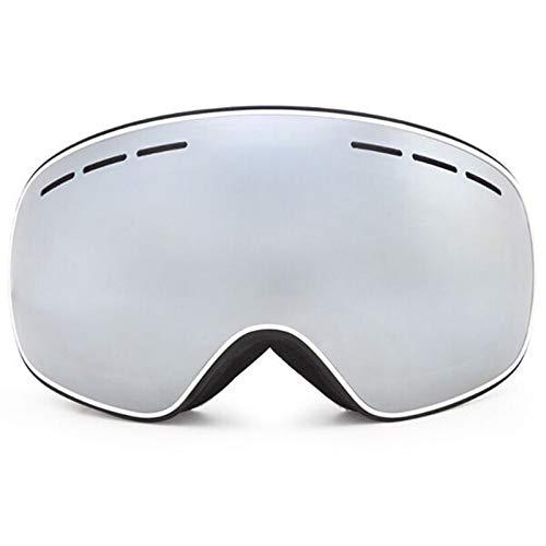 Gafas de esquí para deportes al aire libre, con doble capa UV400, antivaho, gafas de esquí para hombre y mujer, para invierno, nieve, deportes de snowboard, gafas R18 (color: marco negro y blanco)