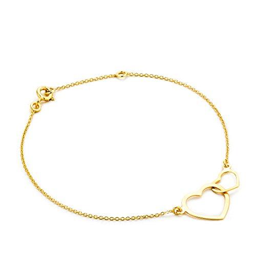 Orovi Armband - Armreif Damen Gelbgold 9 Karat / 375 Gold Kette mit Herz 18 cm Armband in Italien hergestellt