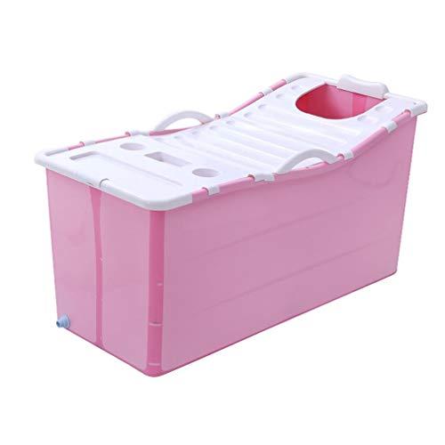 CYLQ Opvouwbare badkuip voor volwassenen, babybadkuip, opvouwbaar, badkuip, vrijstaande douchewand, badkuip, opvouwbaar, grote kinderzwembad, blauw/roze, 117 x 52,5 x 63 cm