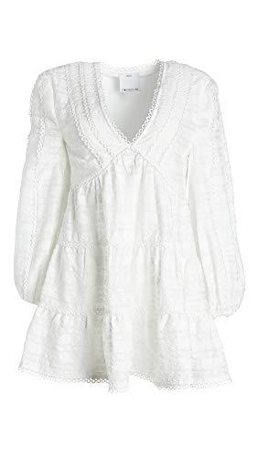 C/Meo Collective Women's Long Sleeve V-Neck Lie Awake Mini Dress, Ivory, XS