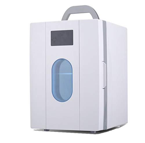 DFJU Frigorifero per Auto 10L / Mini frigo, casa e Auto a Doppio Uso (220V / 12V), Viaggi/Picnic, conservazione di Cosmetici, Cibo, farmaci