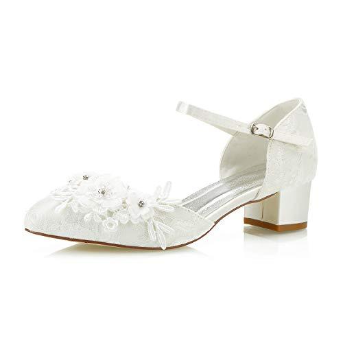 Mrs White 6655-1 Zapatos de Boda Bombas de Mujer Tacón bajo de...