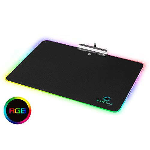 GameMax GMP-02 RGB muismat voor gaming laser en optische muismat RGB Rainbow 9 Touch Sensitive, vast oppervlak (350 x 260 x 3 mm)