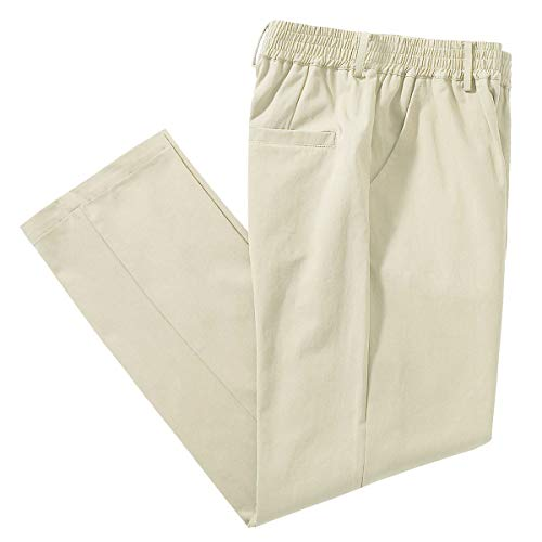 IDEALSANXUN Mens Elastic Waist Pants Mock Fly Loose Fit Casual Twill Pant Trouser (Light Khaki, 42)