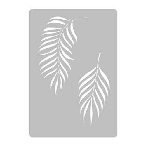 Wiederverwendbare Wandschablone aus Kunststoff // 45x65cm // Tropisch - Palmblatt #3 - Wedel // Muster Schablone Vorlage