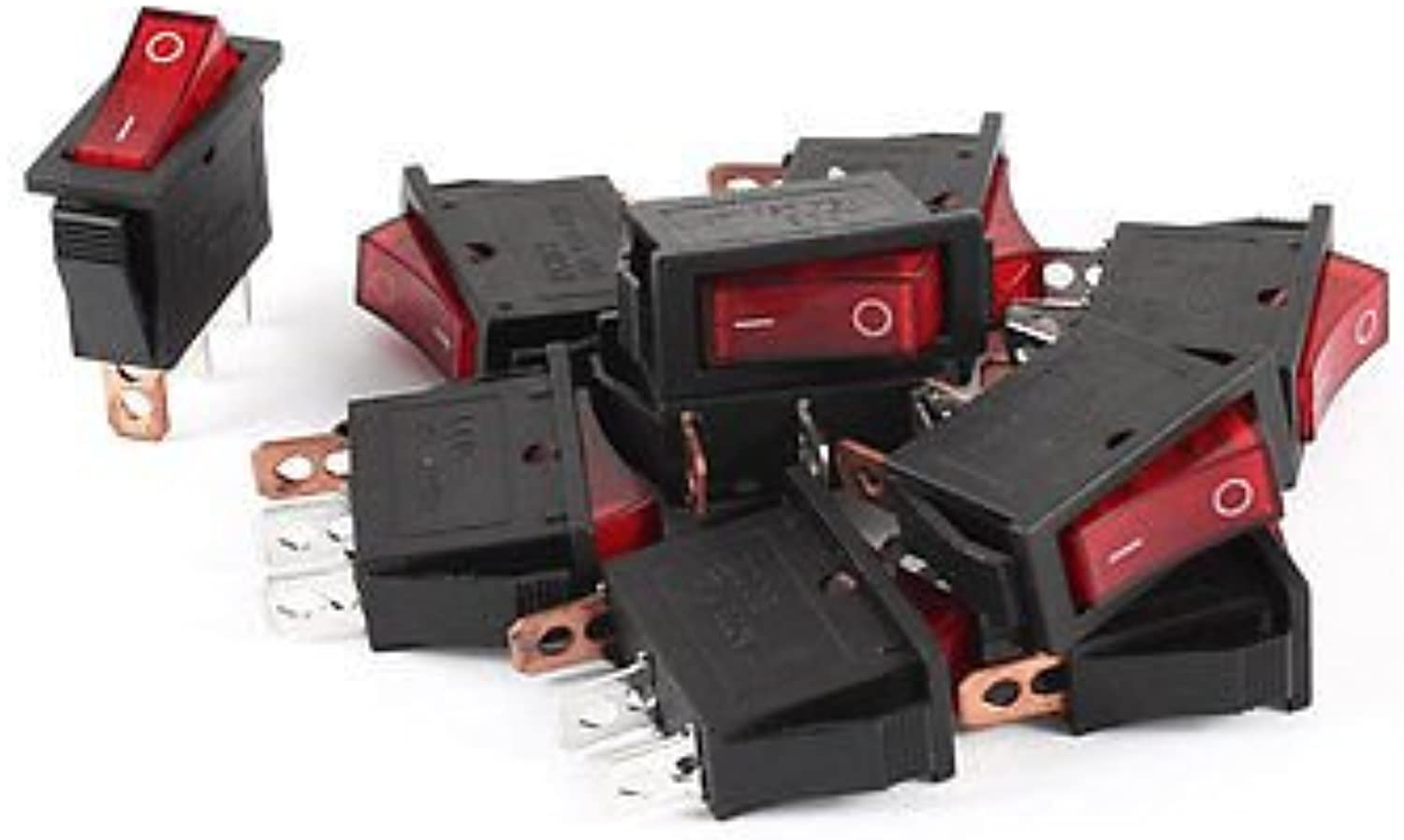 10 x AC 250V 15A 3 Terminal SPST Red Neon Lamp O F Boat Rocker Switch KCD3101N