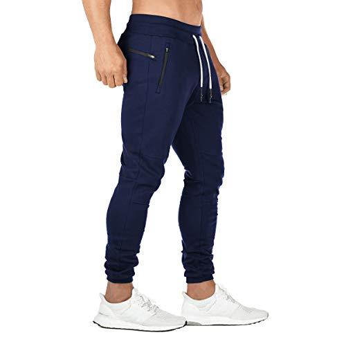 FEDTOSING Jogginghose Herren Fitness Spotshose Slim Fit Trainingshose Sweatpants Chino Baumwolle Taschen(Marine 2XL)