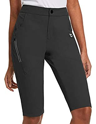 BALEAF Women's Hiking Shorts UPF 50+ Quick Dry Water-Resistant Slim Knee Length Shorts with Zippered Pockets Black Size L