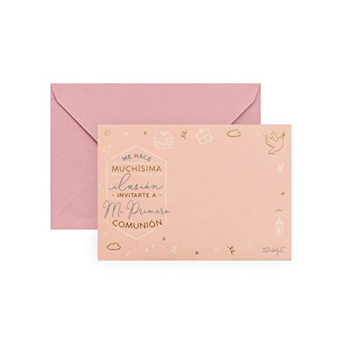 Mr. Wonderful Set de 20 Invitaciones Personalizables para Comunión, Rosa