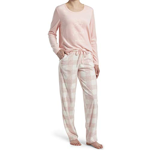 HUE Women's Sueded Fleece Long Sleeve Tee and Pant 2 Piece Pajama Set, Calming Rose - Baby Its Cold Outside, Medium