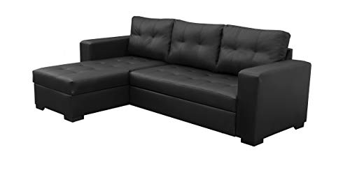 Sofas and More TOMMY CORNER SOFA BED IN BLACK FAUX LEATHER