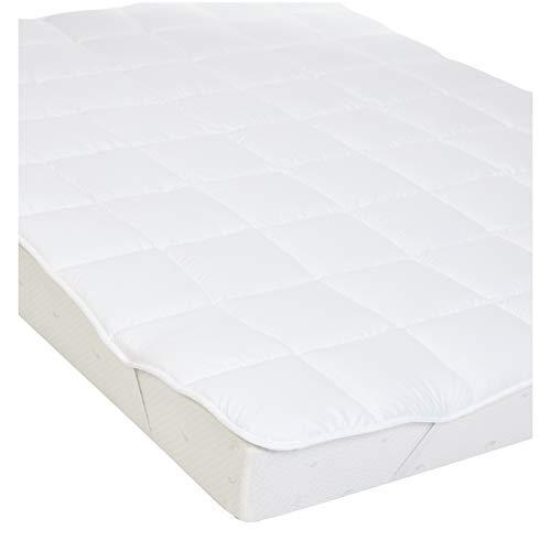 Amazon Basics - Weiche Matratzenauflage mit Mikrofaser-Polyester-Füllung und Riemen, 90 x 200 cm, Weiß