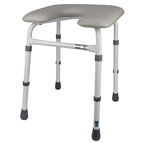 Homecraft Chester Adjustable Padded Stool, Ergonomic Shower and Bathing Chair with Cut-Out for Personal Hygiene, Padded Comfort Stool for Prolonged Seating in Bathrooms, Bath Seat with Adjustable Legs