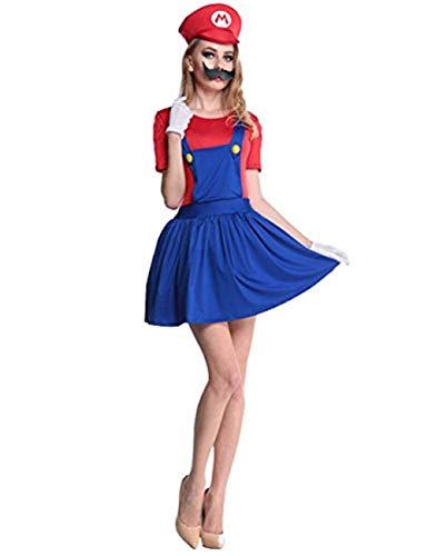 thematys Super Mario Luigi Mütze (sehr kurzes Kleid) + Bart + Handschuhe - Kostüm-Set für Damen - perfekt für Fasching, Karneval & Cosplay (S, 150cm-155cm)