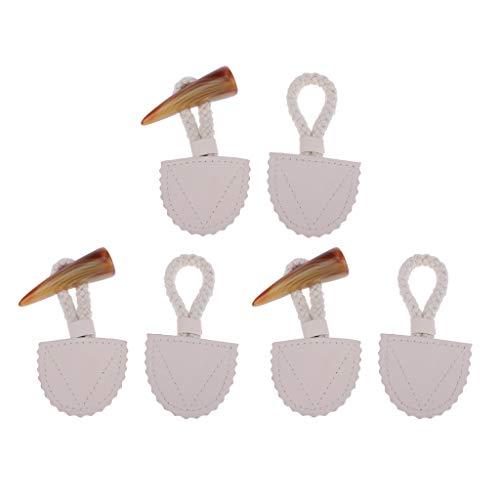 3 Paar Beige Pu Leder Horn Knebelverschlüsse Dufflecoat Leder Knebelknöpfe Horn Knopf für Mantel Jacke Duffle