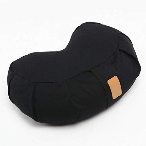 SFGSA Crescent - Almohada de meditación para yoga, cojín de meditación, cojín de suelo, puf de yoga, funda de algodón orgánico con cremallera, color negro