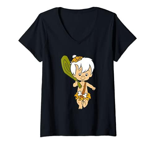 Damen The Flintstones Bamm Bamm Rubble Classic Pose T-Shirt mit V-Ausschnitt