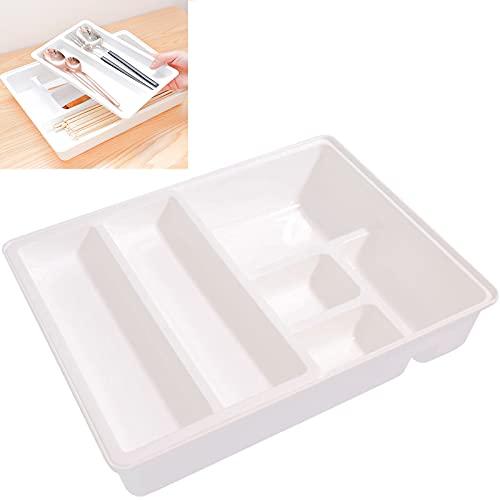 GUOGEGE Portacubiertos Cajon, Estuche Plastico Inserto de Cubiertos Extraíble Bandejas para Cubertería, Inserto de Cajón 31.2 x 24.2 x 6.6cm, como Cubertero u Organizador de la Cocina