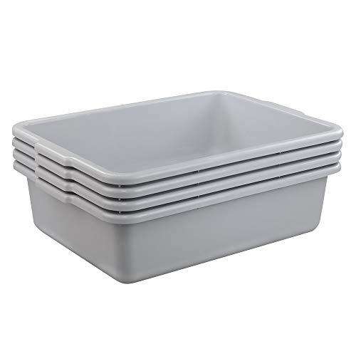 Rinboat 23 Litre Commercial Bus Box Food Bus Box Tub Utility Bus Plastic Washing up Bowls, Grey, 4 Packs