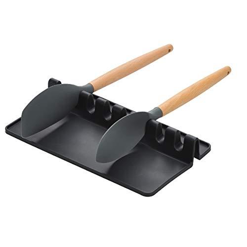 Songway Soporte de Utensilios de Cocina de Silicona, Resto de Cuchara, Cuchara Gigante espátula Tenedor Tenedor Tenedor Resistente al Calor (Black, L)