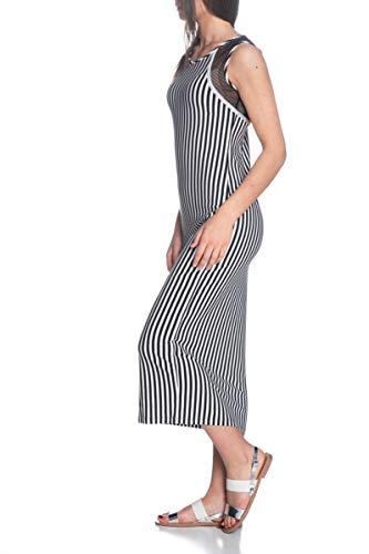 Liu Jo Sport Damen Kleid in Jersey mit Fantasie-gerippte T19151 J5691-Schwarz/Weiß-L