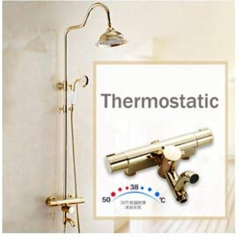 Neu Goldener Thermostat-Brausebatteriesatz Zweigriff-Brausenmischer mit Handbrause und Wanneneinlauf, gelb
